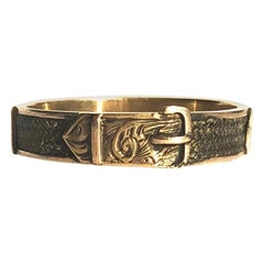 Victorian Gold and Braided Hair Buckle Memorial Band