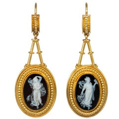 Victorian Gold and Carved Onyx Cameo Earrings Depicting Classical Female Figures