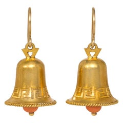Victorian Gold and Coral Bell Form Earrings