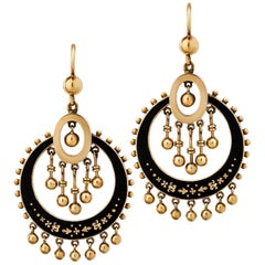Victorian Gold and Enamel Drop Earrings