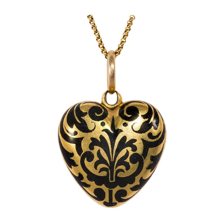 Victorian Gold and Enamel Heart Locket on Chain with Double-Sided Decoration