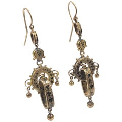 Victorian Gold and Enamel long Dangle Earrings