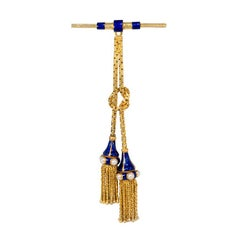 Victorian Gold and Enamel Tassel Brooch with Pearl Accents