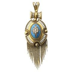 Victorian Gold and Enamel Tassel Pendant