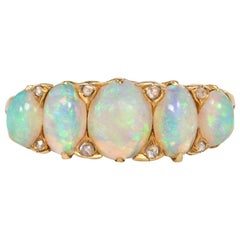 Victorian Gold and Five-Stone Opal Half Hoop Ring with Rose Diamond Accents