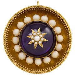 Victorian Gold and Foiled Amethyst Brooch with White Coral and Pearl Accents