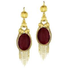 Victorian Gold and Garnet Fringe Earrings