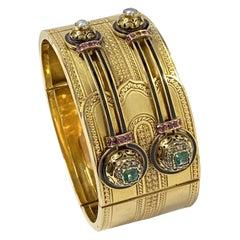 Victorian Gold and Gem Set Wide Bangle Bracelet