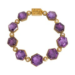 Victorian Gold and Hexagonal Amethyst Link Bracelet with Half-Pearl Accents