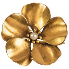 Victorian Gold and Pearl Pansy Pin, circa 1890
