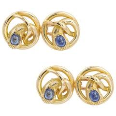 Victorian Gold and Sapphire Snake Cufflinks
