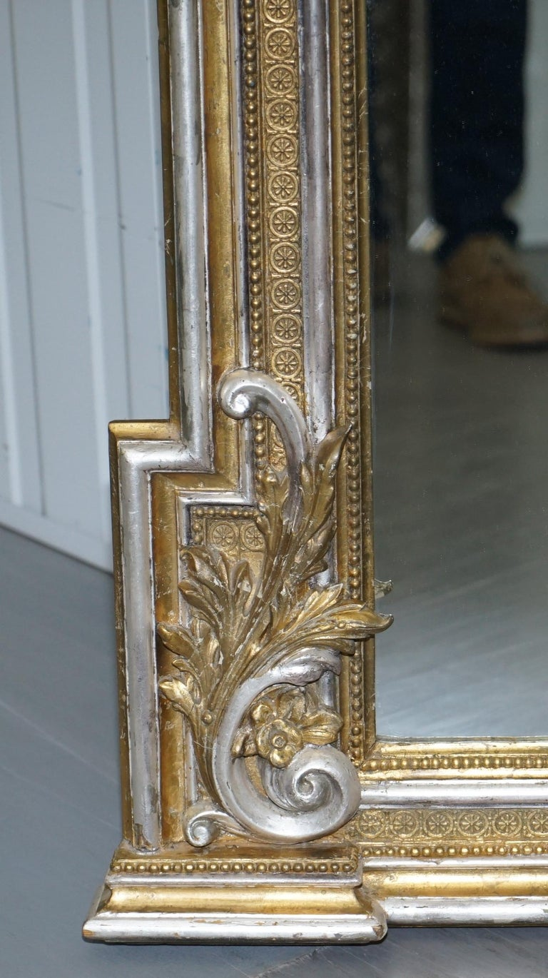 Victorian Gold And Silver Leaf Painted Carved Antique Full