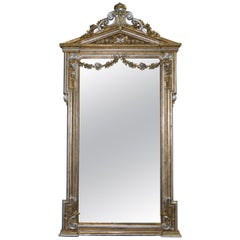 Victorian Gold and Silver Leaf Painted Carved Antique Full Length Mirror