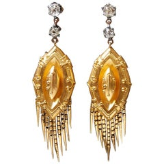 Victorian Gold and Silver Old Cut Mine Diamond Drop Earrings