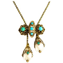 Victorian Gold and Turquoise Slider Pendant Necklace