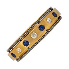 Victorian Gold Bracelet with Sapphires and Old Mine Diamonds and Diamond Borders