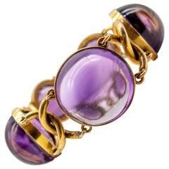 Victorian Gold Cabochon Amethyst Bracelet