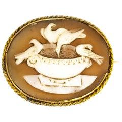 Victorian Gold Cameo Dove Brooch