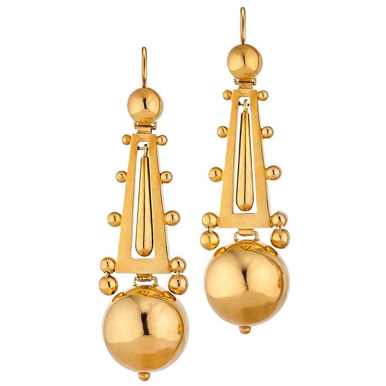 Victorian Gold Chandelier Drop Earrings For Sale