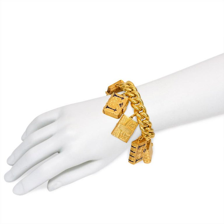 Women's or Men's Victorian Gold Charm Bracelet with Book-Shaped Lockets For Sale