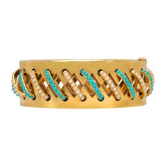 Victorian Gold Cut-Out Bangle Bracelet with Turquoise and Pearl Arches