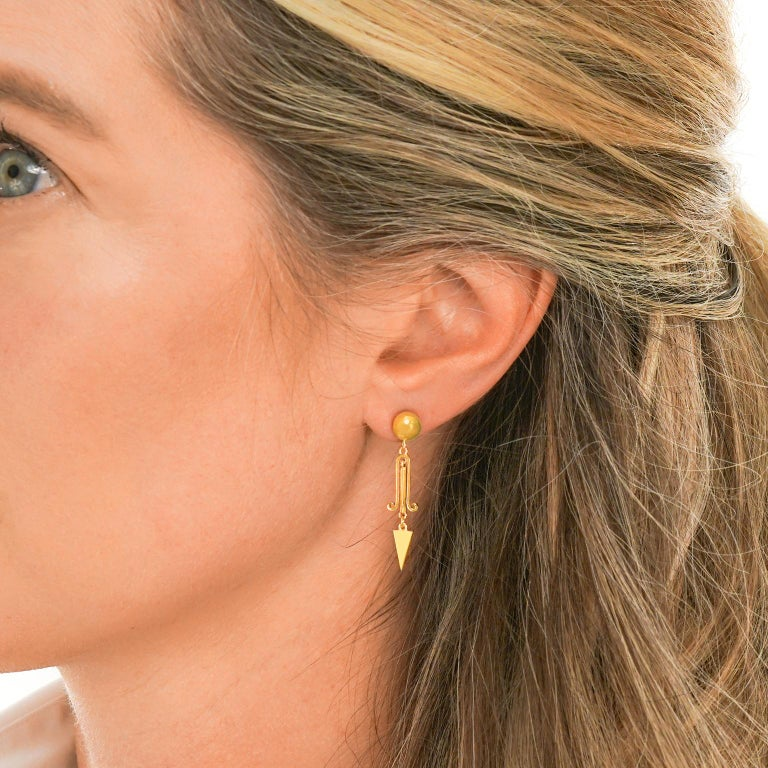 Women's Victorian Gold Dangle Earrings For Sale