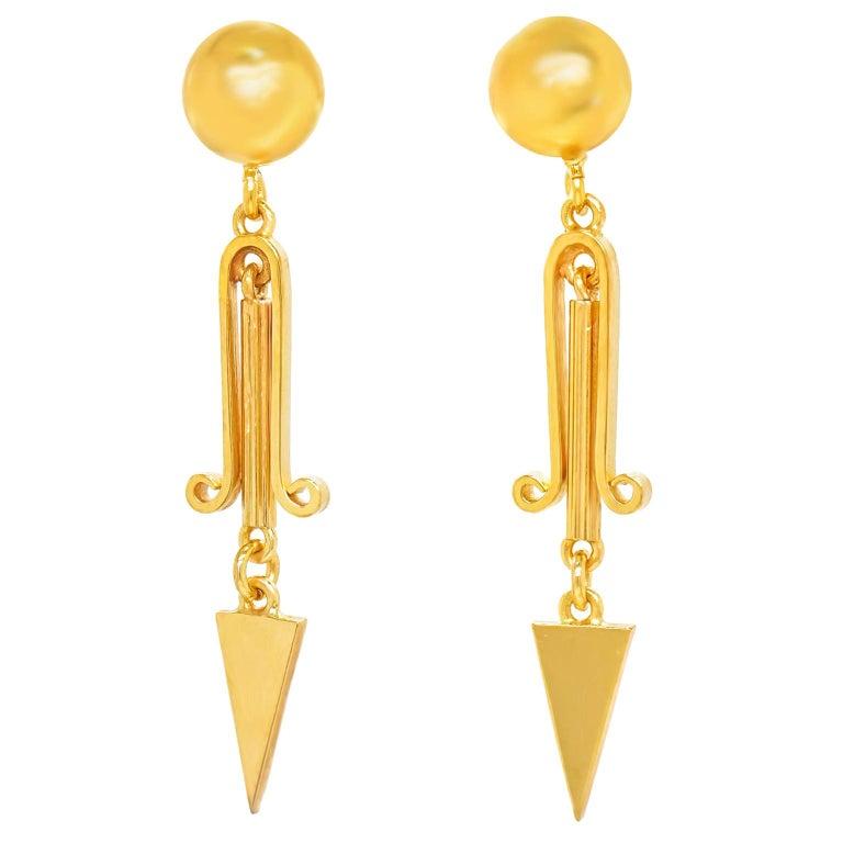 Victorian Gold Dangle Earrings For Sale