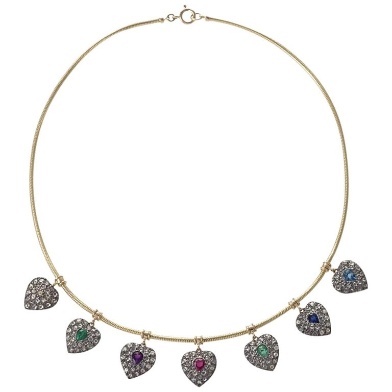 Gold, diamond and gemstone acrostic necklace, 1860s