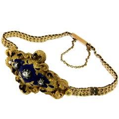Victorian Gold Diamond Enamel Bracelet
