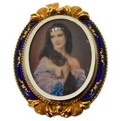 Victorian Gold Diamond Portrait Pin Brooch Pendant