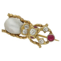 Victorian Gold Diamond Ruby Beetle Brooch