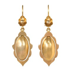 Victorian Gold Earrings with Scalloped Design and Oblong Pendants