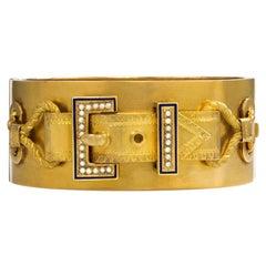 Victorian Gold, Enamel, and Pearl Buckle Motif Bracelet