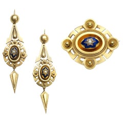 Victorian Gold Enamel and Pearl Earrings and Brooch Suite, circa 1875