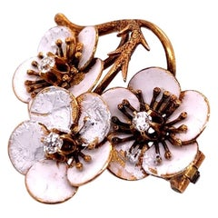 Victorian Gold Enamel Flower Brooche 0.12 Carat Natural Euro Diamond, circa 1920