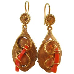 Victorian Gold Filled Knot Coral Branch Dangle Earrings