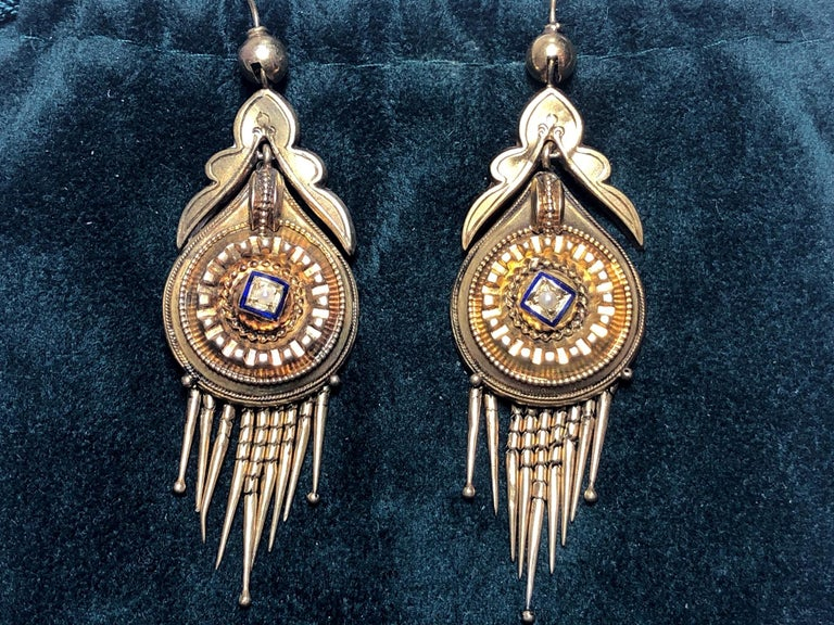 Victorian Gold Fringe Earrings In Good Condition In London, GB