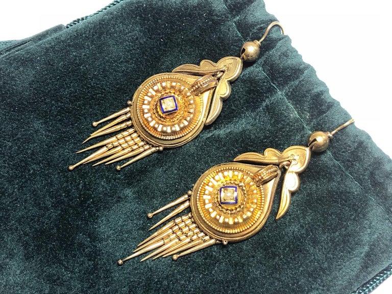 Women's or Men's Victorian Gold Fringe Earrings