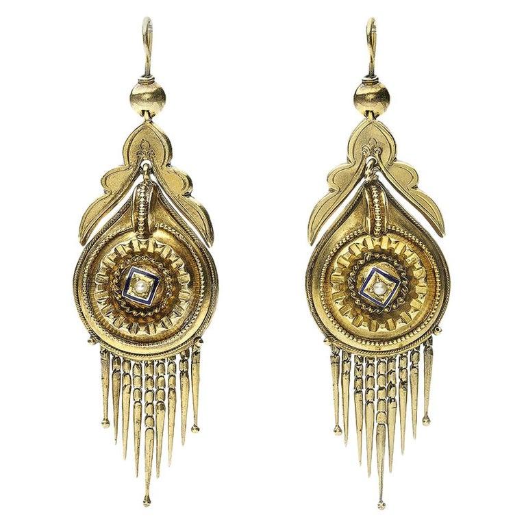 Victorian Gold Fringe Earrings