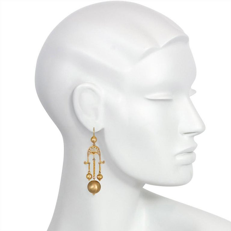 Women's or Men's Victorian Gold Girandole Style Earrings with Ball Pendants For Sale