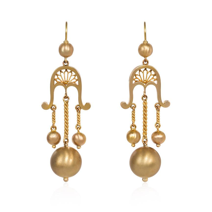 Victorian Gold Girandole Style Earrings with Ball Pendants