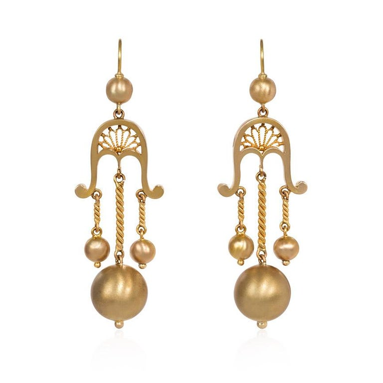Victorian Gold Girandole Style Earrings with Ball Pendants For Sale