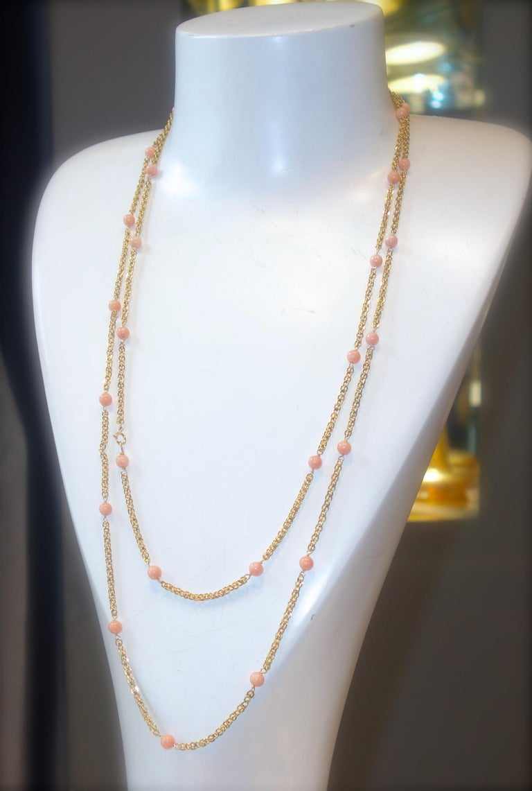 Victorian Gold Long Chain with Natural Coral Beads, circa 1890 For Sale 1