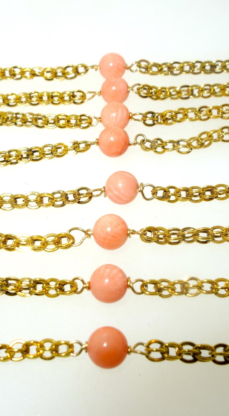 Victorian Gold Long Chain with Natural Coral Beads, circa 1890 For Sale 3