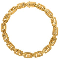 Victorian Gold Oblong Link Collar Necklace with Brick Pattern