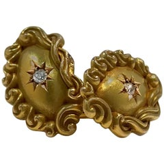 Victorian Gold Oval Cufflinks, Star Set Diamond Center 0.06 Carat