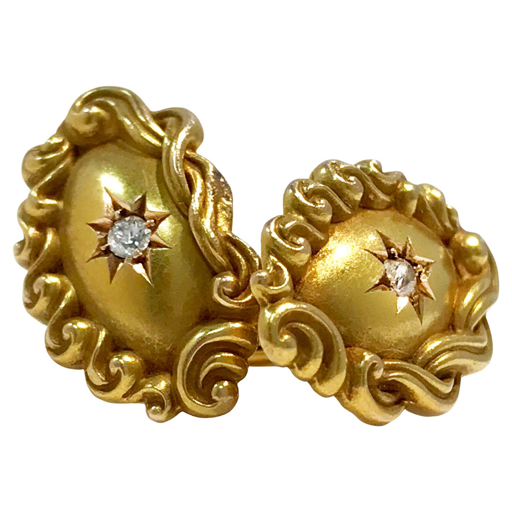 Victorian Gold Oval Cufflinks, Star Set Diamond Center 0.06 Carat