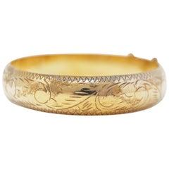 Victorian Gold over Sterling Silver Hinged Bangle Bracelet