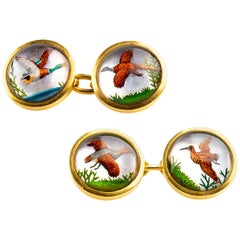 Victorian Gold & Painted Crystal Cufflinks of Game Birds in Flight, English 1900