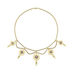 Victorian Gold Pearl and Enamel Swag Necklace